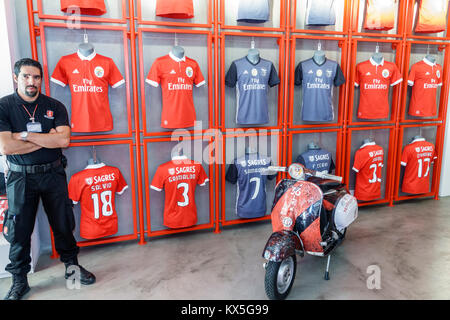 Lisbon Portugal Baixa-Chiado Rua dos Sapateiros Benfica Portuguese football team official store sports merchandise - Stock Photo