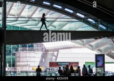 Lisbon Portugal Oriente Gare do Oriente intermodal hub transportation station Santiago Calatrava modern architecture - Stock Photo