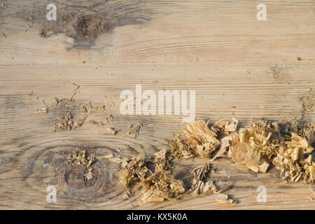 background blurred bright wooden texture with wood chips - Stock Photo