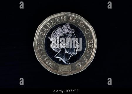 The new 12-sided £1 Coin the most secure coin in the world - Stock Photo