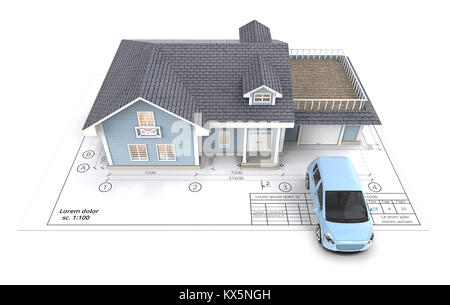3d render top view of a home made wooden soapbox go cart racer stock blue generic car and house with light from windows ontop of blueprint top view malvernweather Image collections