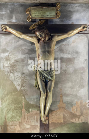 Crucifix by Andrea Sellari in Romanesque Concattedrale di Santa Maria Assunta (Cathedral of Assumption of Mary) - Stock Photo