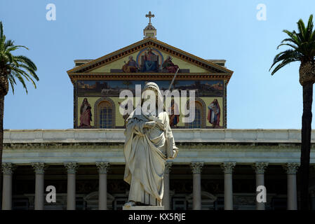 Statue of Saint Paul in the courtyard of the Papal Basilica of St. Paul outside the Walls. Rome, Italy. Erected - Stock Photo
