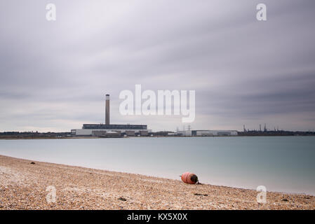 Fawley Power Station on Southampton Water, Hampshire, England - Stock Photo