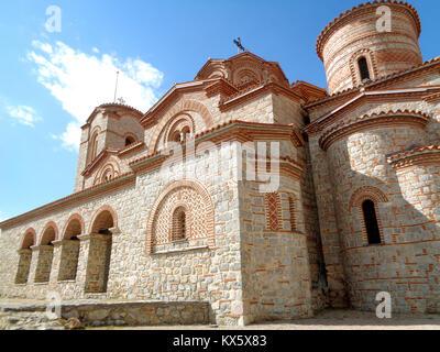 The Church of Saints Clement and Panteleimon, stunning stone church against sunny blue sky, Ohrid, Macedonia - Stock Photo