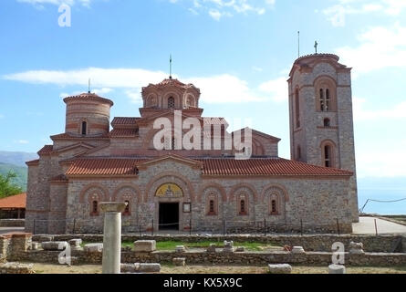 Impressive St. Clement's Church at the Plaosnik archaeological site of Ohrid, Macedonia - Stock Photo