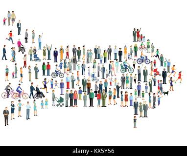 Group of people heading towards the destination - Stock Photo