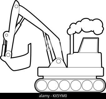 Vector Line Style Excavator Icon Outline
