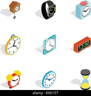 Time and clock icons, isometric 3d style - Stock Photo