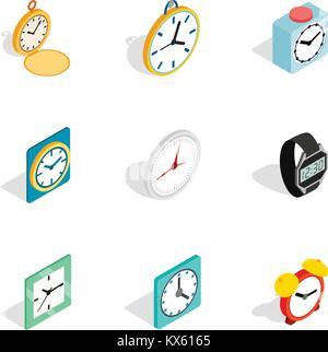 Clock icons, isometric 3d style - Stock Photo