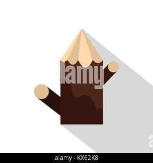 Pointed woden stump icon, flat style - Stock Photo