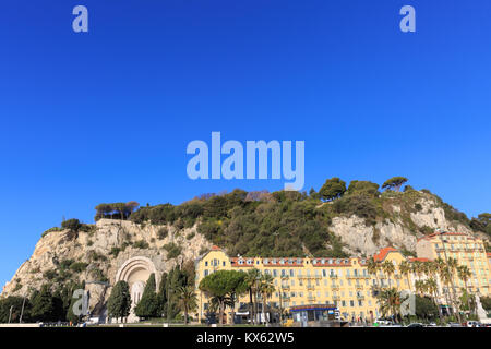 Castle Hill seen from the port of Nice on a clear sunny day, French Riviera, Provence, france - Stock Photo