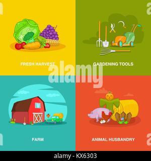 Gardener spaces concept set, cartoon style - Stock Photo