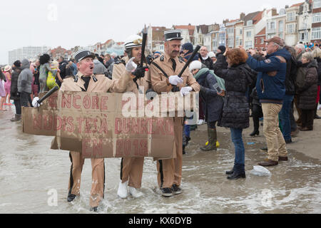People taking part in the traditional 'Bain de Givres' as part of the New Year's celebrations on January 1, 2018 - Stock Photo