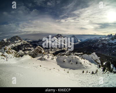 Panorama of the ski slopes and San Vito town, from Pomedes hut, Cortina D'Ampezzo, Italy - Stock Photo
