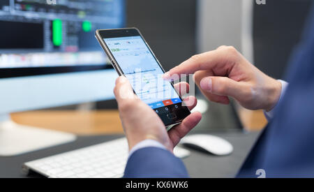 Close up of businessman using mobile smart phone. - Stock Photo