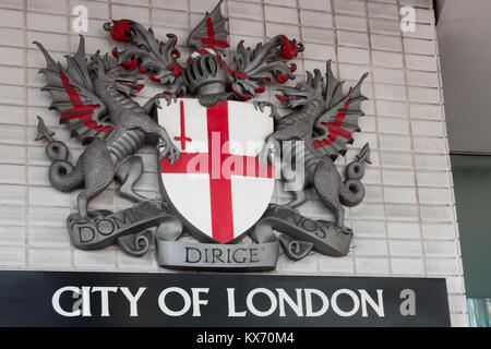 The City of London Coat of arms and sign - Stock Photo