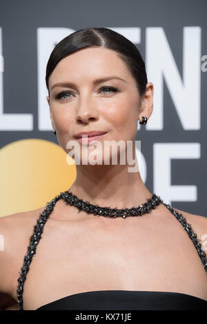 Beverly Hills, California, USA. 7th Jan, 2018. Actress CAITRIONA BALFE arrives for 75th Annual Golden Globe Awards. - Stock Photo