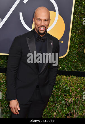 Los Angeles, USA. 07th Jan, 2018. Common poses in the press room during the 75th Annual Golden Globe Awards at The - Stock Photo