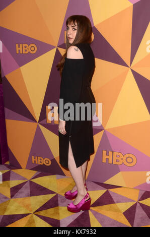 Beverly Hills, California, USA. 7th Jan, 2018. Lena Dunham at the HBO Golden Globes After Party, Beverly Hilton, - Stock Photo