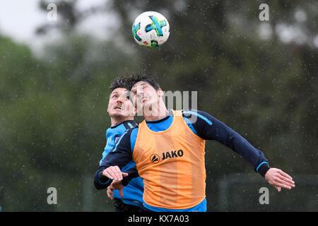 Dominik Stroh-Engel (KSC) im duels with Marcel Mehlem (KSC).  GES/ Fussball/ 3. Liga: Karlsruher SC - Trainingslager, - Stock Photo