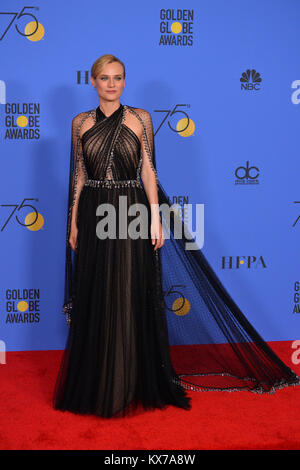 Los Angeles, USA. 07th Jan, 2018. Diane Kruger at the 75th Annual Golden Globe Awards at the Beverly Hilton Hotel, - Stock Photo