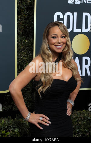 Beverly Hills, California, USA. 7th Jan, 2018. Mariah Carey arrives for the 75th Annual Golden Globe Awards at Beverly - Stock Photo