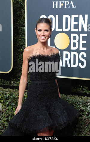 Beverly Hills, California, USA. 7th Jan, 2018. Heidi Klum arrives for the 75th Annual Golden Globe Awards at Beverly - Stock Photo