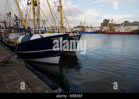 Ijmuiden, Noord-Holland/The Netherlands - November 15th 2017: a fishing trawler at the docks of the harbor of Ijmuiden - Stock Photo