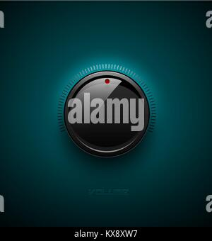 Black glossy interface button for volume control with reflect and shadow. Vector illustration. Sound icon, music - Stock Photo