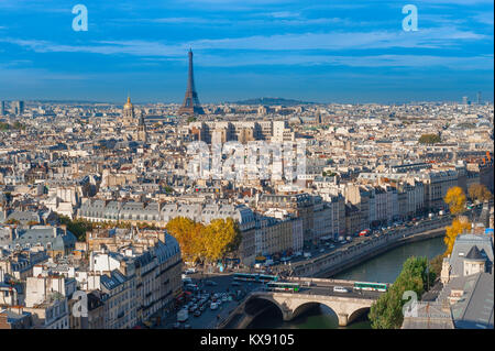 Paris cityscape aerial, view to the west of Paris above the rooftops of the Left Bank towards the Eiffel Tower on - Stock Photo