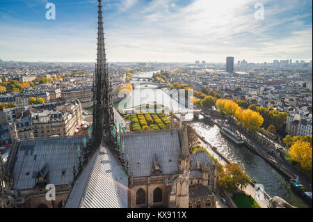 Paris cityscape aerial, view high over the roof of Notre Dame Cathedral looking towards the east of Paris on an - Stock Photo