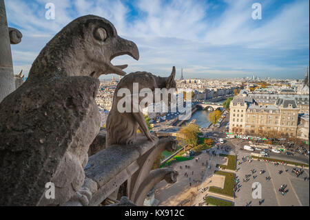 Paris cityscape, view of the city skyline from the West Tower gallery of Notre Dame Cathedral, France. - Stock Photo