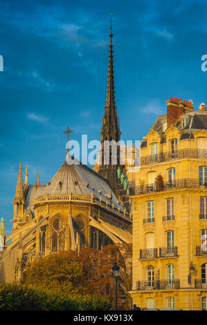 Paris architecture, the east end of Notre Dame Cathedral alongside a typical 19th century apartment building on - Stock Photo