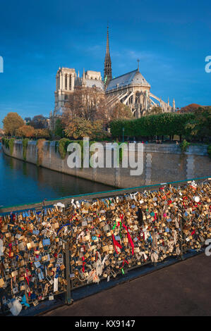 Paris Seine River, view from the Pont de l'Archeveche of Notre Dame Cathedral at sunrise, central Paris, France. - Stock Photo