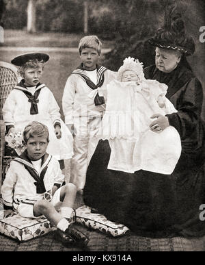 Queen Victoria and her great grand-children, from left to right, Prince Albert (future George VI), Princess Mary - Stock Photo