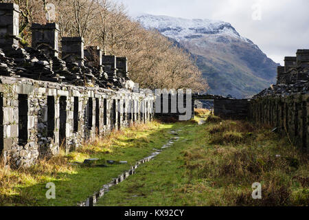 Ruins of old Anglesey Barracks row of quarrymen's cottages in Dinorwig slate quarry on Elidir Fawr in Snowdonia - Stock Photo