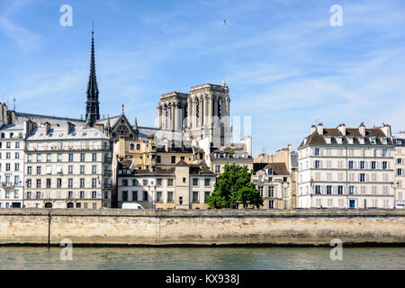 View of Notre-Dame de Paris cathedral on the Ile de la Cite with typical parisian buildings in the foreground. - Stock Photo