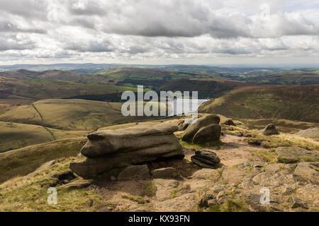 View of Kinder Reservoir from Kinder Scout, Peak District National Park, Derbyshire, UK - Stock Photo