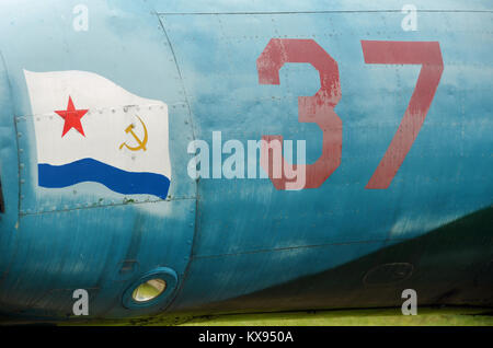 A symbolic drawing on an aircraft on display in the Monino museum near Moscow. - Stock Photo