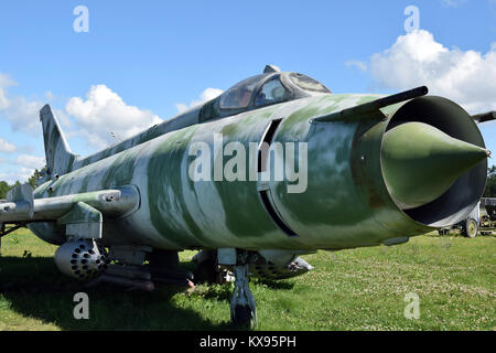 A Mig-21A  fighter on display in the Togliatti museum of technics, oblast of Samara. - Stock Photo