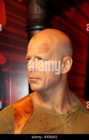 London, - United Kingdom, 08, July 2014. Madame Tussauds in London. Waxwork statue of Bruce Willis. - Stock Photo