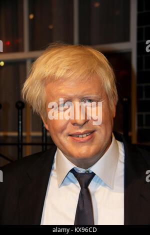 London, - United Kingdom, 08, July 2014. Madame Tussauds in London. Waxwork statue of Boris Johnson .popular historian - Stock Photo