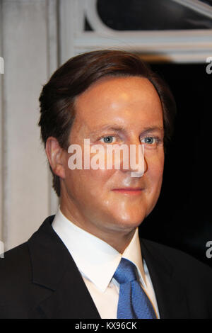 London, - United Kingdom, 08, July 2014. Madame Tussauds in London. Waxwork statue of David Cameron . - Stock Photo