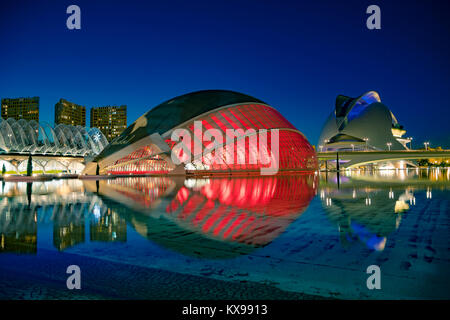 Modern architecture buildings of the City of Arts and Sciences. Designed by Santiago Calatrava at night. Valencia, - Stock Photo