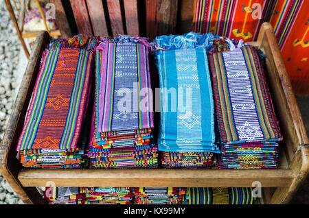 traditional woven tais fabric scarves in dili souvenir market east timor leste - Stock Photo
