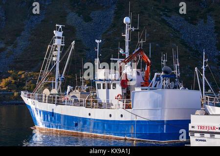 Fishing boat, Ballstad harbour, Vestagoy, Lofoten, Nordland, Norway - Stock Photo