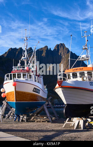 Fishing boats being repaired, Ballstad harbour, Vestagoy, Lofoten, Nordland, Norway - Stock Photo