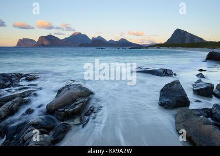 Sandnes beach, Flakstadoya, Lofoten, Nordland, Norway.  View to Vestvagoy - Stock Photo