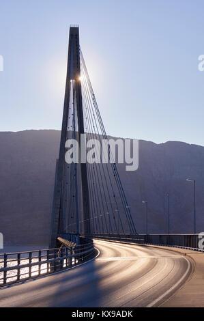 Helgeland bridge, Helgelandsbrua, over the Leirfjorden, near Sandnessjoen, Alstahaug, Nordland, Norway - Stock Photo